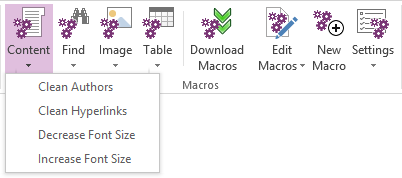 Macro buttons in Home ribbon tab