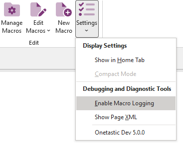 Enable Macro Logging button