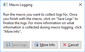 Macro Logging dialog box