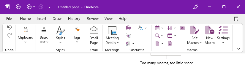 OneNote Home Ribbon when there are too many macros