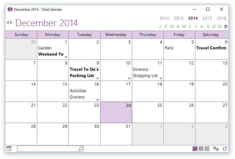 Click to view OneCalendar 1.17.2 screenshot