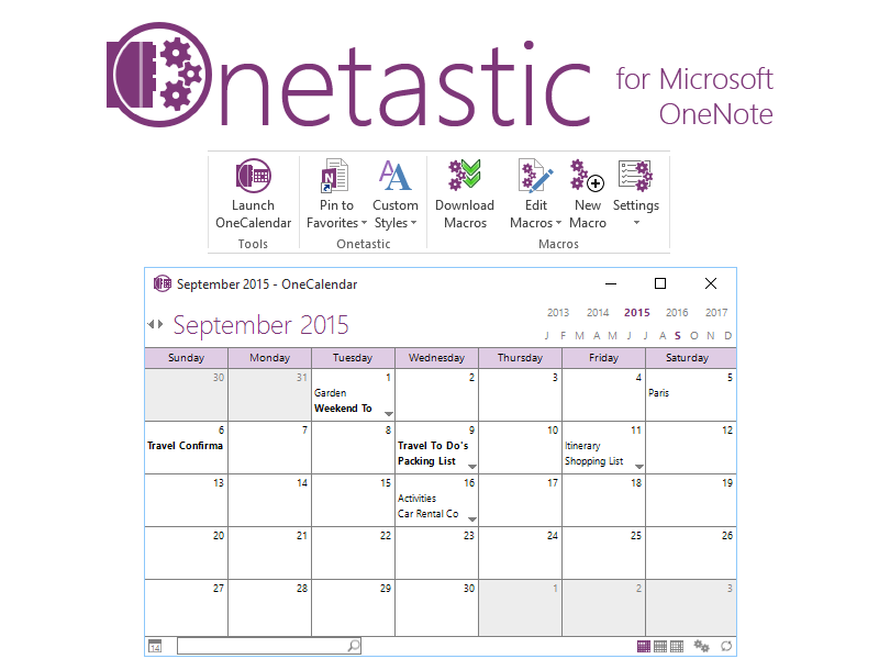 Onetastic for Microsoft OneNote 64bit screenshot