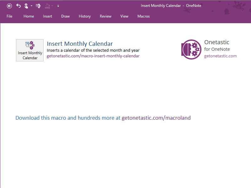 Insert Monthly Calendar - Onetastic for OneNote