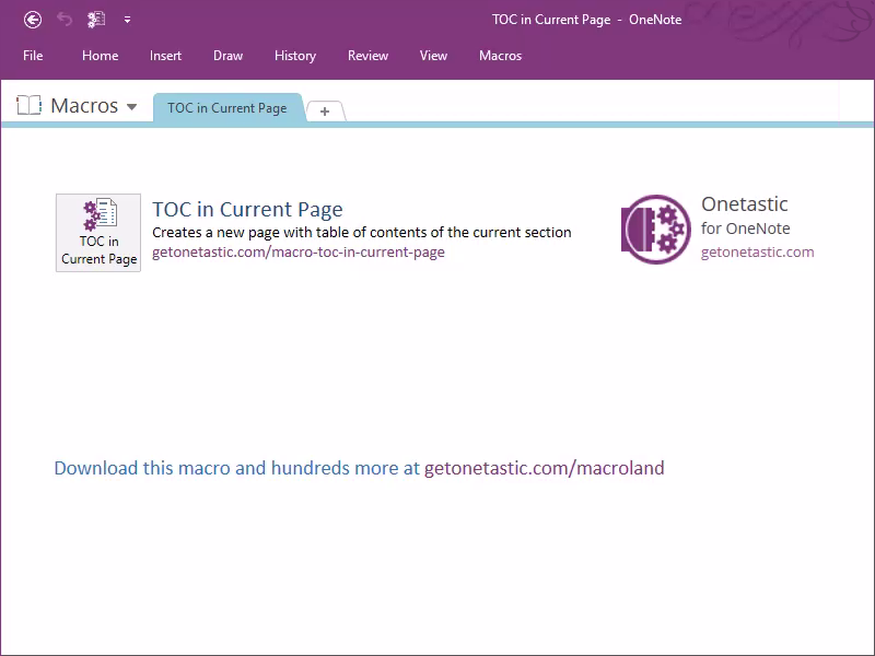 TOC in Current Page - Onetastic for OneNote