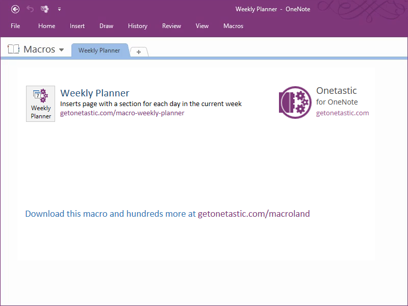 Weekly Planner - Onetastic for OneNote